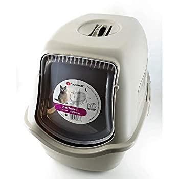 FLAMINGO - Maison de Toilette Lexie Gris Taupe 39 x 56 x 39.5 cm pour Chat - FL-560850