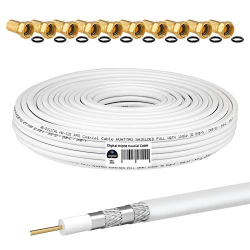 HB-DIGITAL 50m Koaxialkabel HQ-135 Antennenkabel 135dB SAT Kabel 8K 4K UHD 4-Fach geschirmt für DVB-S / S2 DVB-C / C2 DVB-T / T2 DAB+ Radio BK Anlagen + 10 F-Stecker