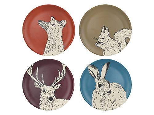 Creative Tops Into The Wild Bamboo Plates with Animal Designs, Multi-Colour, 25 cm, 4 Piece Dinner Plate Set