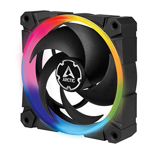 ARCTIC BioniX P120 A-RGB - 120 mm Ventilador de Caja, PWM, Optimizado para la Presión Estática, Enfriador, Rodamiento Dinámico Fluido, 400-2300 RPM - Negro