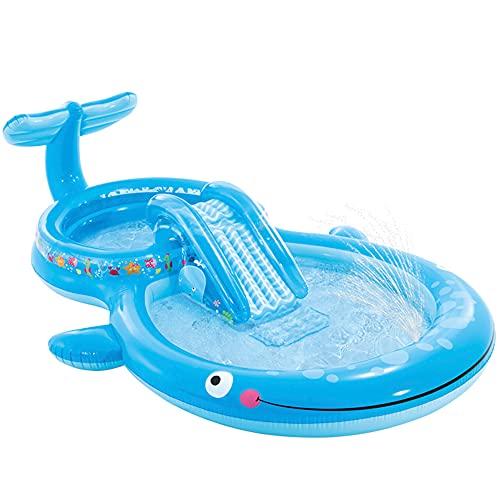 Intex 57176 - Centro de juego de agua, Centro de juego acuático, 373x234x99 cm, 235 litros, 81 kg, suelo acolchado, Piscina con tobogán, con pulverizador, Piscina niños, para niños + 2 años