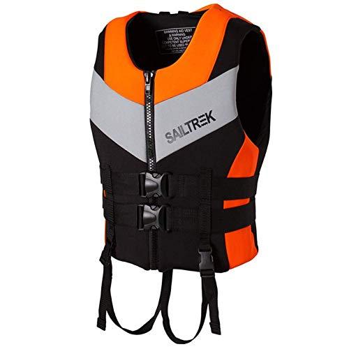 HWZZ Mutifunktionelle Auftriebsweste Für Erwachsene Schwimmen Bootfahren Segeln Angeln Kajak Schwimmweste 10-100 Kg,Orange,S