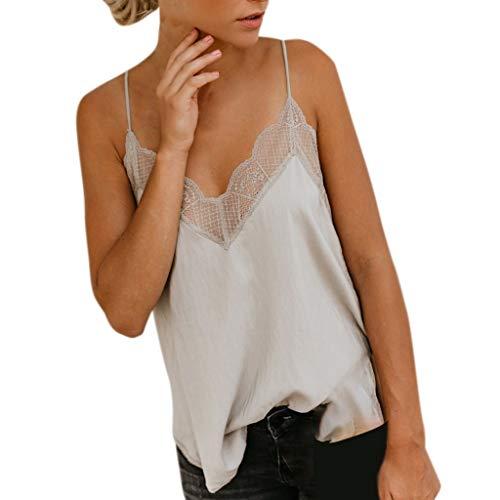Camisola Mujer Seda Satín Color sólido Chaleco de Tiras Sin Mangas Blusa Camisetas Casuales
