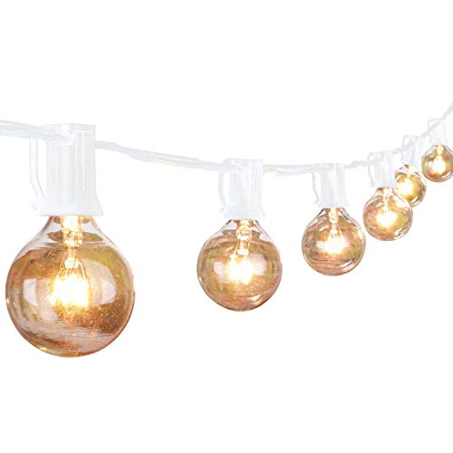 50Ft Outdoor Patio String Lights with 50 Clear Globe G40 Bulbs,UL Certified for Patio Porch Backyard Deck Bistro Gazebos Pergolas Balcony Wedding Gathering Parties Markets Decor,White
