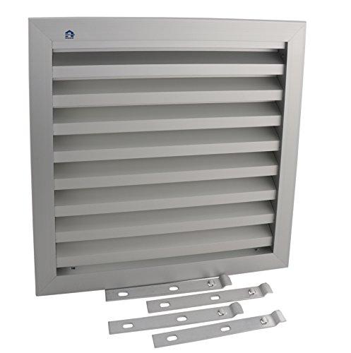 RENSON Lüftungsgitter | Lamellen-Gitter 30x30 cm | zur Mauer-Befestigung | inkl. Insektenschutzgitter | Alu silber eloxiert