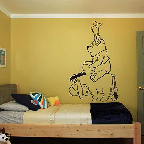Winnie l'ourson décalque Winnie l'ourson mignon accessoires drôles pour adhésif de chambre de bébé