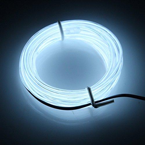 Possbay 1m 2m 3m 4m 5m EL Draht Neon Lights Glow Leuchtmittel Elektrolumineszenz-Folie mit Controller für Car Home Party Kostüm Dekoration, weiß, 3 m