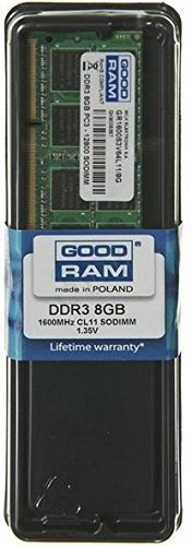 Goodram 8GB DDR3 PC3-12800 SO-DIMM 8GB DDR3 1600MHz módulo de - Memoria (8 GB, 1 x 8 GB, DDR3, 1600 MHz, 204-pin SO-DIMM)