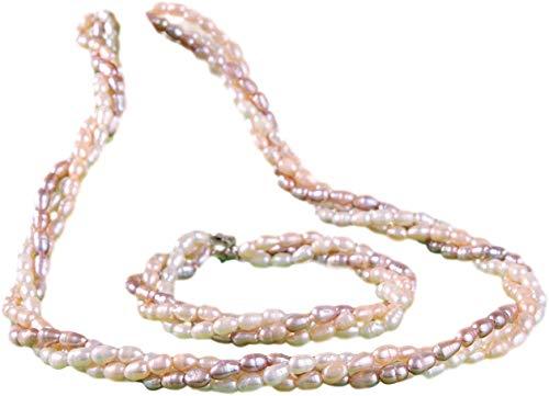 Perlenset Arband und Halskette 3-dreihig aus Echte Süßwassser-Zucht-Perlen-Kette 47cm + Armband 20cm P029 dreifarbig Perlenset