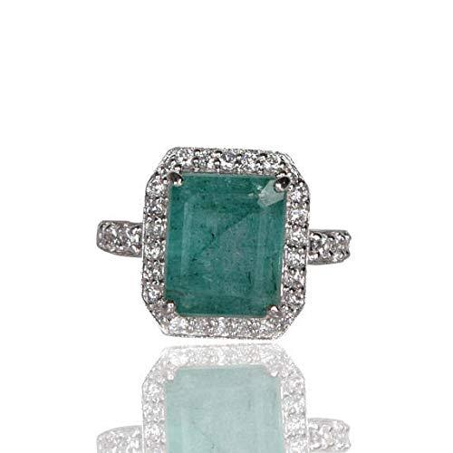 Anillo de compromiso de esmeralda verde esmeralda colombiano 925 con anillo de esmeralda de circonita cúbica