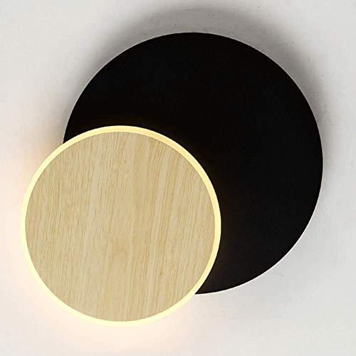 KX&VV LED wandlamp creatieve eenvoudige zwarte ronde roterende wandlamp Nordic Home gang woonkamer slaapkamer nachtverlichting moderne wanddecoratie lamp grootte: diameter 17,5 cm