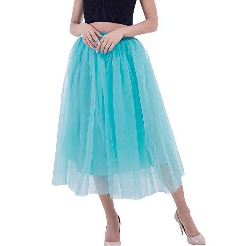 WOZOW Damen Tüllrock Einfarbig Party Karneval Kostüm Elegant Prinzessin Tanzkleid Lange Cosplay Eine Linie Kleider Frauen (65-115,Blau)