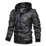 Uusollecy Herren Lederjacke Abnehmbarer Kapuze Hooded Leather Jacket Mit Kapuze