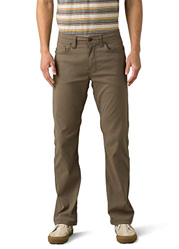 prAna - Men's Brion Lightweight, Breathable, Wrinkle-Resistant Stretch Pants for Hiking and Everyday Wear, 32' Inseam, Mud, 34