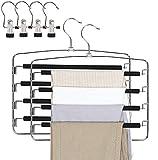 Qualsen Pants Hangers 2 Pack Jeans Hangers Multi Layers Non Slittamento salvaspazio Hanger Closet Storage Organizer per Pantaloni Jeans Pantaloni Sciarpa Pantaloni Gonne (con 4 mollette Portatili)