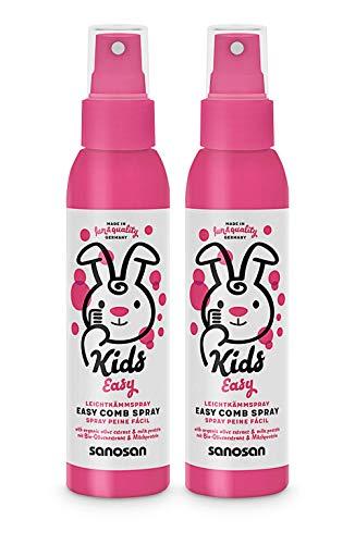 sanosan Leichtkämm Spray für Kinder - Leichtkämmspray mit Bio Olivenextrakt & Milchprotein im 2er Pack (2x 125 ml) - Haarpflege, Pflegespray