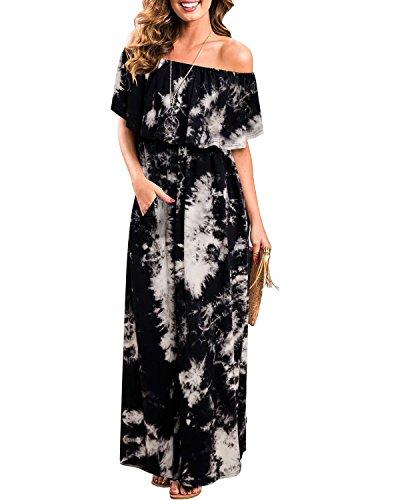 ABYOXI Damen Schulterfrei Rüschen Drucken Sommerkleid Elastic Waistband Split Saum Maxi langes Kleid Schwarz S