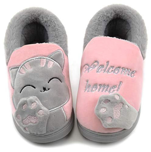 Vunavueya Mujer Zapatillas de Estar por Casa Hombre Zapatos Pantuflas Casa Invierno Interior Caliente Peluche Forradas Slippers Rosa(Cat) 37/38 EU/38-39CN