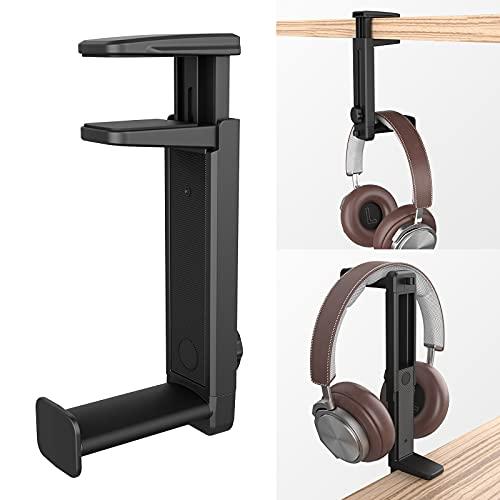 Soporte para Auriculares 2 en 1 con Clip de Cable y 360° Rotación,Klearlook (Doble Propósito)(Altura Ajustable) Abrazadera con Resorte Debajo del Escritorio   en el Escritorio Gancho Auriculares