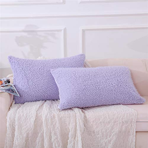 MOOWOO Faux Fur Pillowcase Set of 2, Sherpa Pillow Case, Fluffy Shaggy Cute Decorative Pillow Cases for Home Bedroom Living Room, Covers with Zipper Closure - Standard Queen Size, Purple