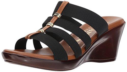 Italian Shoemakers Women's Clover Wedge Sandal, black, 8 M US