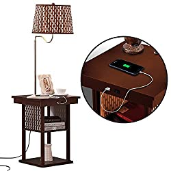 Brightech Madison Bedside Table with Floor Lamp