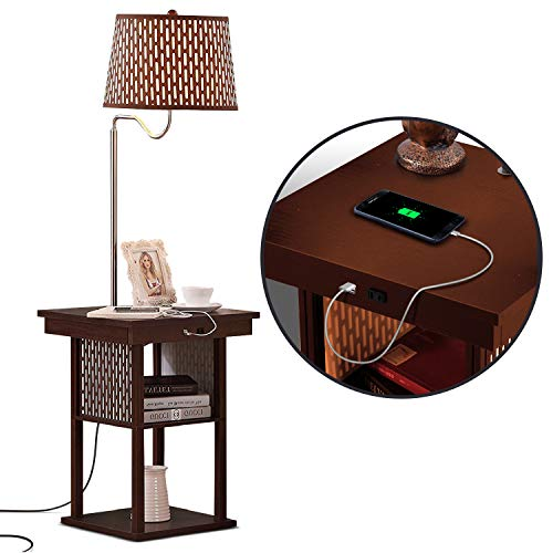 Brightech Madison - Narrow Nightstand with Built In Lamp, USB Port, Shelves for Bedrooms - Mid...