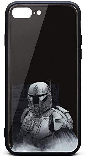 Carcasa para iPhone 8 Plus/iPhone 7 Plus, diseño mandaloriano, unisex, de cristal templado clásico, color negro, antiarañazos, goma TPU, antigolpes, cubierta trasera