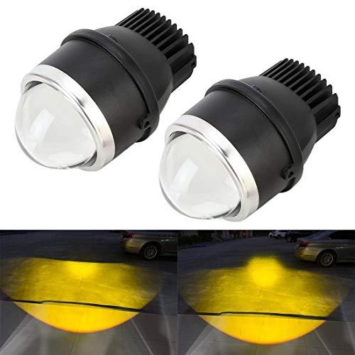 Xyamzhnn Nebelscheinwerfer 2 PCS IPHCAR MA617 3,0-Zoll-DC12V / 20W / 2200lm Auto Doppel-Licht-Nebel-Licht mit Projektor-Objektiv (Color : Gold Light)