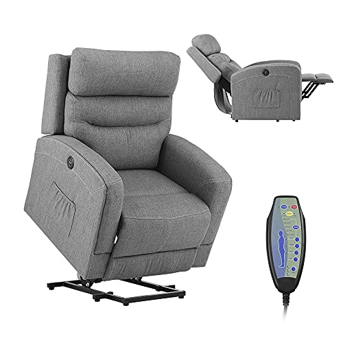 Electric Power Lift Recliner Chair – Massage and Lumbar Heating for Elderly, Senior,Ergonomic Lounge Chair, Reclining Sofa for Living Room,USB Charge Port & Remote Control (Fabric - Grey)