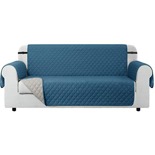 CHUN YI Funda para sofá Funda Reversible para sofá, Protector para sofá con Correas elásticas Ajustables (2 Plazas, Turquesa)
