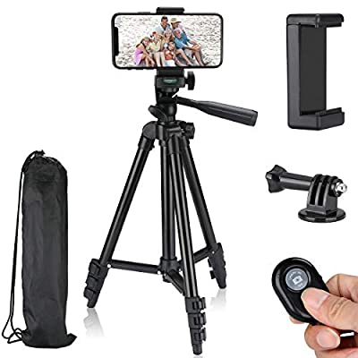 """Tancci Phone Tripod Stand Selfie Stick, 40"""" Camera Tripod Smartphone Tripod for iPhone Cellphone, 1/4"""" Mounting Screw for GoPro DSLR Camera, Wireless Remote Shutter, Phone Clip with Carrying Bag from Tancci"""