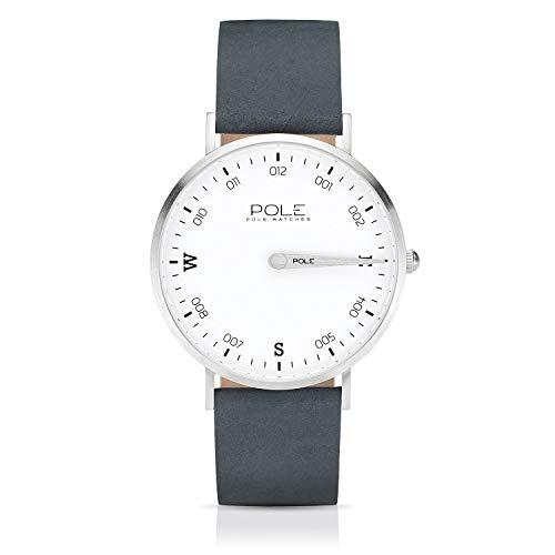 Pole Watches Orologio da Polso Analogico Monolancetta di Quarzo da Uomo Quadrante Bianco e Cinturino di Cuoio Blu Modelo Compass Ice B-1001BL-MA05