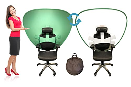 Cam-A-Lot Work from Home Video Conferencing Dual-Sided Webcam Background Privacy Green Screen Chair - Green Screen for Zoom Background Chair Green Screen