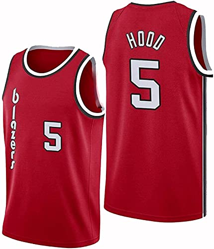 FEZBD Jersey Men's Portland Trail Blazers # 5 Hood Basketball Jersey, Unisex Retro Bordado Malla Jersey,Rojo,M170~175cm
