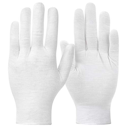 24 Pairs White Cotton Gloves, Shynek Cotton Gloves for Eczema, White Cloth Gloves for Women, Dry Hands, Coin Collecting, Costume, Serving, Archival, Handling Film, Marching