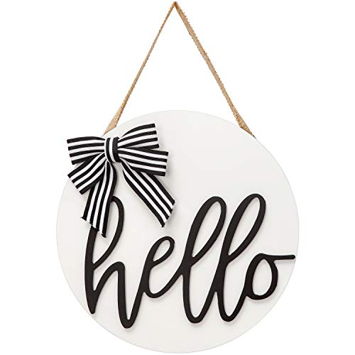 Dahey Hello Sign Rustic Front Door Decor Round Wood Hanging Sign Farmhouse Porch Decorations for...