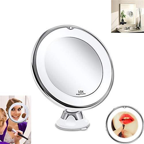 Makeup mirrors Maquillage 10x Miroir avec lumière LED Miroir grossissant lumière Naturelle Miroir pivotant sur 360 °