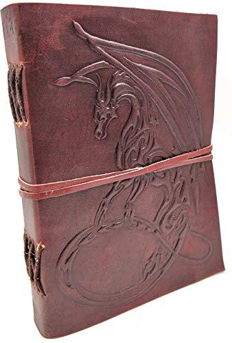 Kooly Zen Notizblock, Tagebuch, Buch, echtes Leder, Vintage, Drache Tribal, 13 cm x 17 cm, 240 Seiten, Premiumpapier