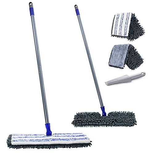 MASTERTOP Doppelseitig Bodenwischer Wischmop aus Chenille mit Schaber und 2 Mopppads für trockenem und feuchtem, Flach Mopp zum Reinigung