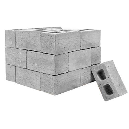 Fanxing NEUE 32Pcs Mini Cement Cinder Bricks Bauen Sie Ihre eigenen kleinen Mini-Ziegelsteine (32, Grau)