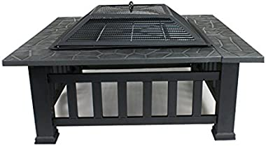 "HomGarden 32"" Fire Pit Outdoor Patio Square Metal Heater Deck Firepit Backyard Garden Home Stove Burning Fireplace w/Spark Screen,Poker,Cover,Grill"