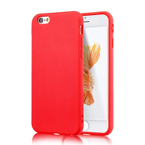 technext020 iPhone 6S Red Case, Shockproof Ultra Slim Fit Silicone TPU Soft Gel Rubber Cover Shock Resistance Protective Back Bumper for iPhone 6 Red