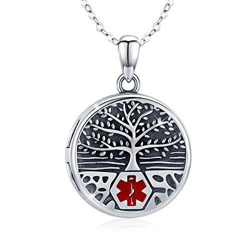 TRISHULA Engraved Celtic Tree of Life Pendant Necklace, Sterling Silver Round Charm Locket Necklace That Holds 2 Pictures for Men Women (18'' + 2'' Extender) (Locket with Cable Chain)