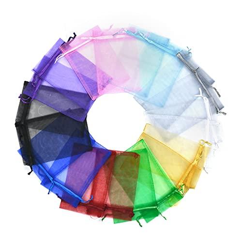 100pcs Bolsas de Organza 10 x 15cm Multicolor Bolsas de Organza de...