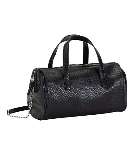 SIX 1 pc barrel-style shoulder bag in faux snakeskin, bag, handbag, shoulder bag, black and silver (726-863)