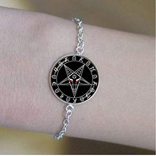 Handmade Goat Head Bracelet, Inverted Pentagram Jewelry, Satanism Jewelry
