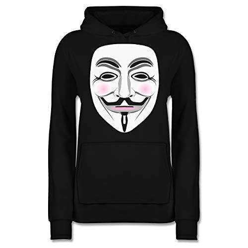 Nerds & Geeks - Anonymous Maske Hacker - M - Schwarz - Hacker Hoodie für Kinder - JH001F - Damen Hoodie und Kapuzenpullover für Frauen