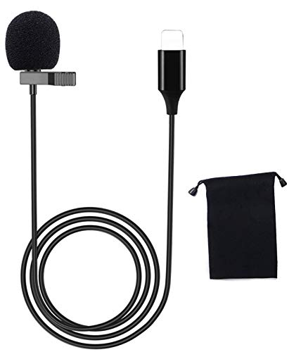 Mini USB Lavalier Lapel Microphone for iPhone, Lavalier Condenser Mic for iPhone 7/8/11/X/XS/XR, YouTube Vlogging Facebook Interview Livestream Video Recording Lapel Mic 4.9 ft (Microphon-Black)