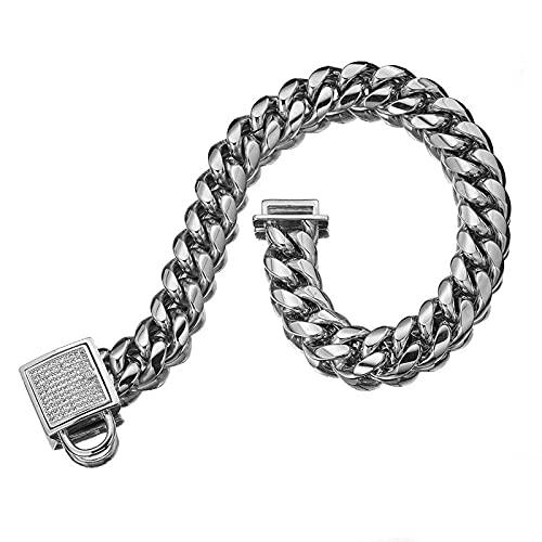 KIFFAY Collar de Cadena de Perro de Acero de Titanio de Acero Inoxidable de 14 mm, cifrado, Cerradura de circón con Micro Incrustaciones, Collar de Metal para Mascotas, Cosas para Pug Bulldog
